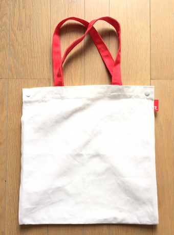 With bag.